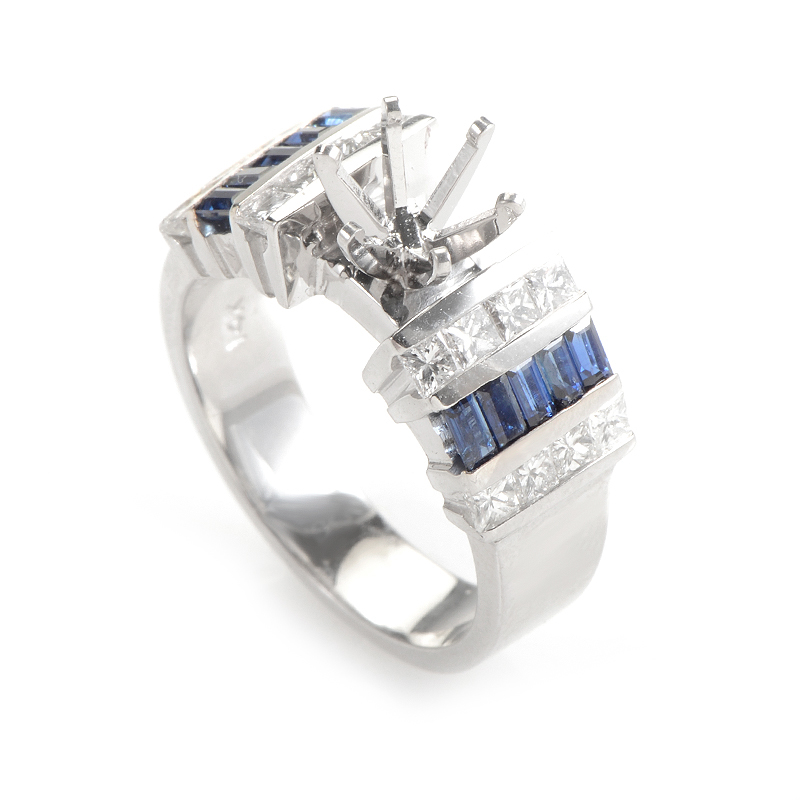 14K White Gold Diamond and Sapphire Baguettes Ring