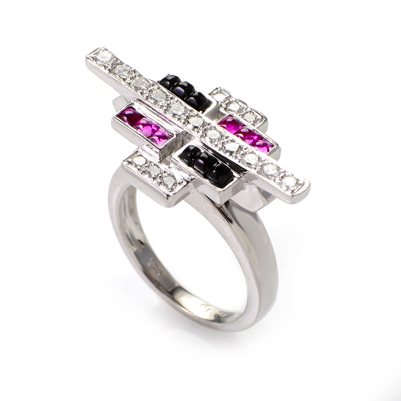 18K White Gold Pink Sapphire and Onyx Cabochon Ring MFAG19-0905