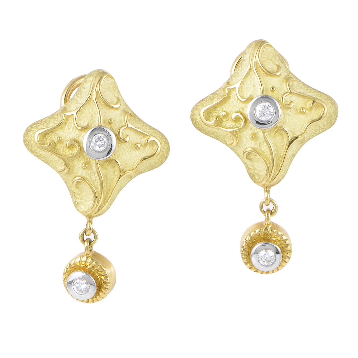 Italian Collection Women's 18K Multi-Tone Gold & Diamond Dangle Earrings