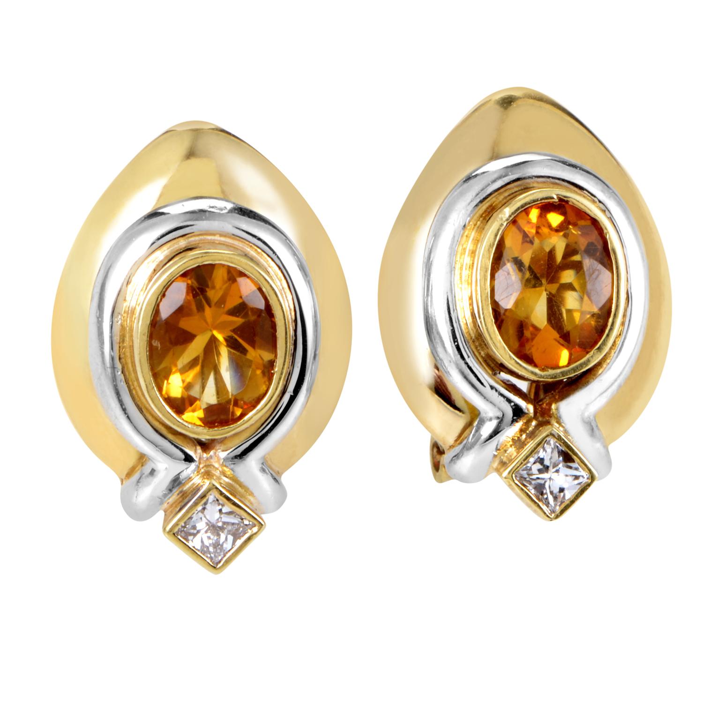 Italian Collection Women's 18K Multi-Tone Gold Diamond & Citrine Earrings