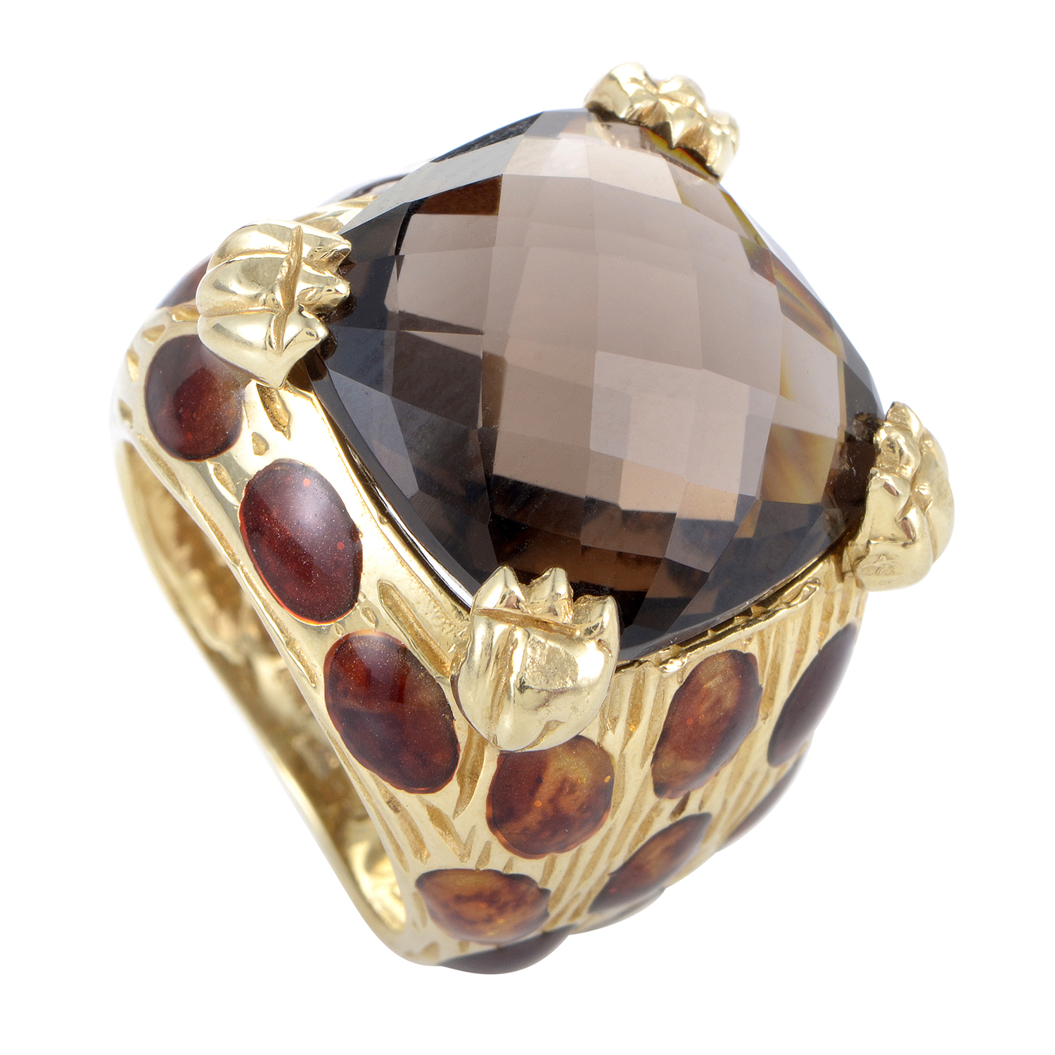 Italian Collection Women's 18K Yellow Gold Smoky Quartz Leopard Ring