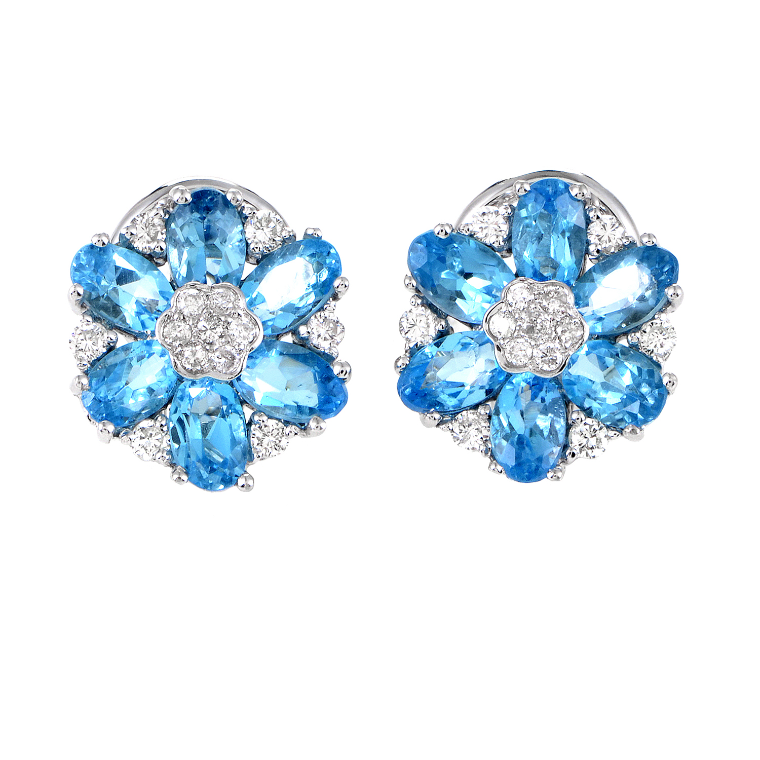 Italian Collection Women's 18K White Gold Diamond & Topaz Flower Earrings