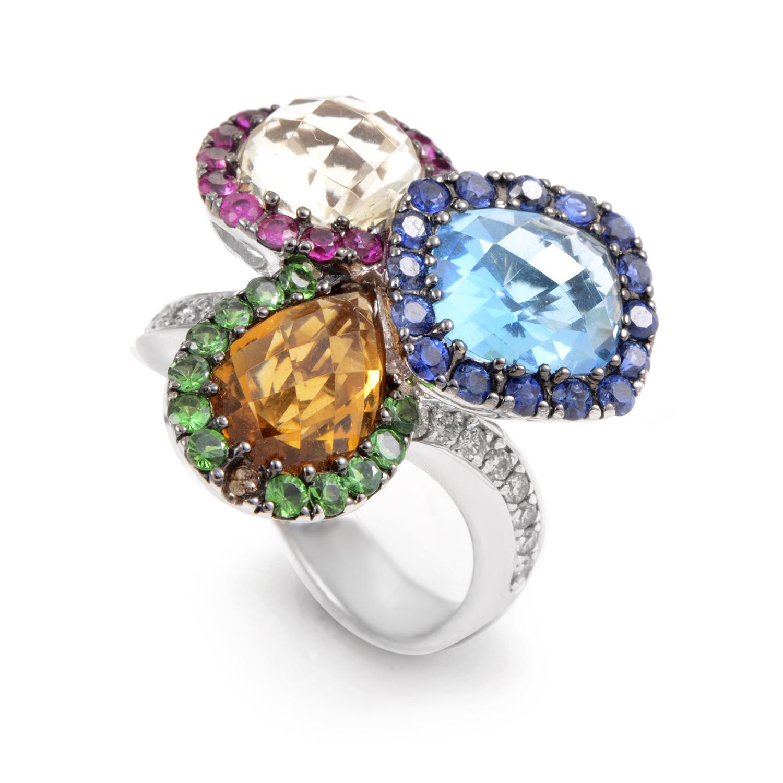 18K White Gold Rainbow Gemstone & Diamond Ring 02315188