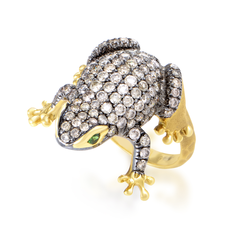 Women's 18K Yellow Gold Diamond & Emerald Frog Ring 130-00095