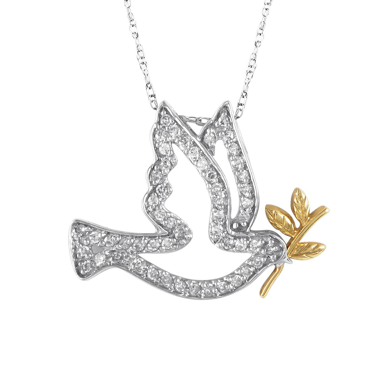 Women's 14K Multi-Tone Gold Diamond Dove Pendant Necklace 160-00159