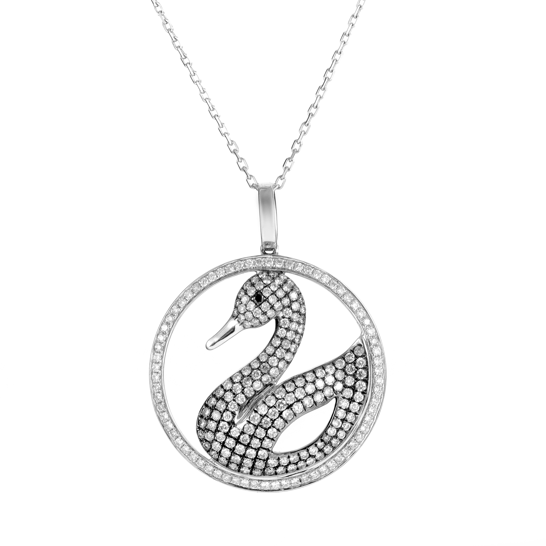 Women's 18K White Gold Diamond Pave Swan Pendant Necklace 160-00079