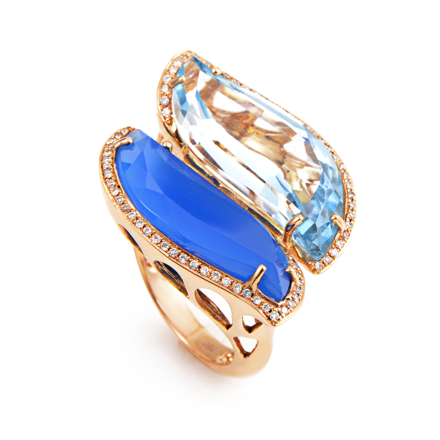 18K Rose Gold Blue Gemstone & Diamond Ring 180-13380