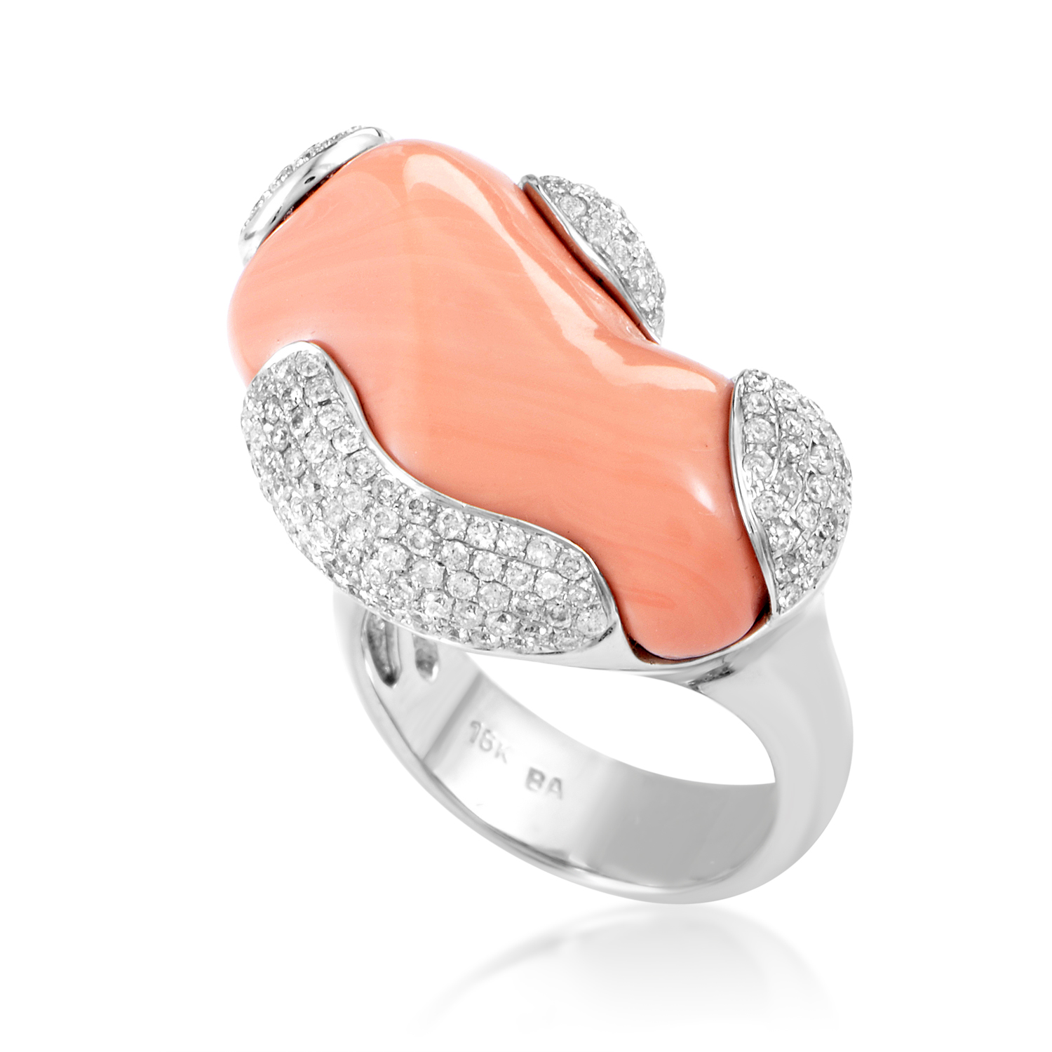 Women's 18K White Gold Diamond & Coral Ring 200-00004