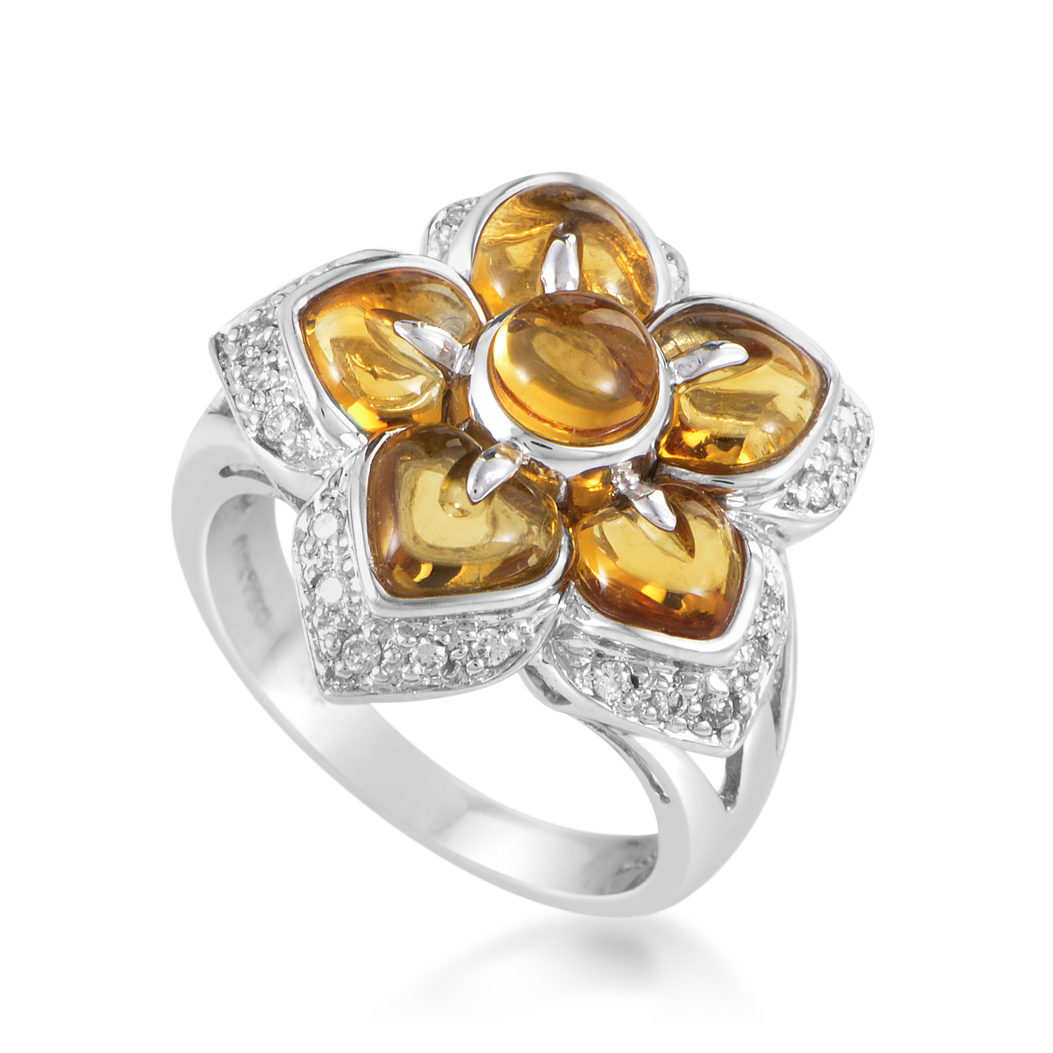 Women's 18K White Gold Diamond & Citrine Flower Ring 200-00060RNG