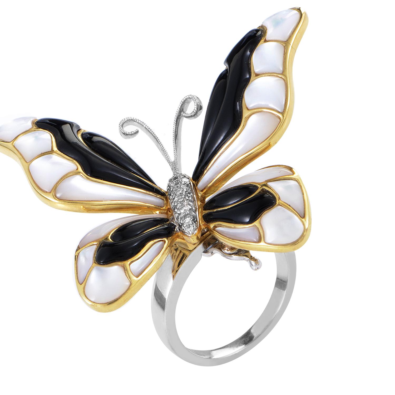 Women's 18K Multi-Tone Gold Diamond & Gemstone Butterfly Ring 200-00140