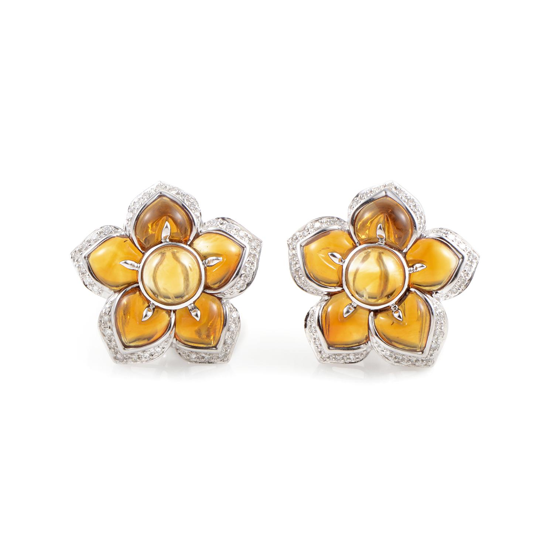 Women's 18K White Gold Diamond & Citrine Flower Earrings 200-00060ER