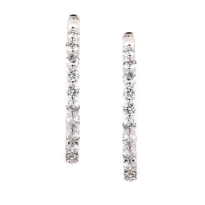 18K White Gold Diamond Hoop Earrings 20745915