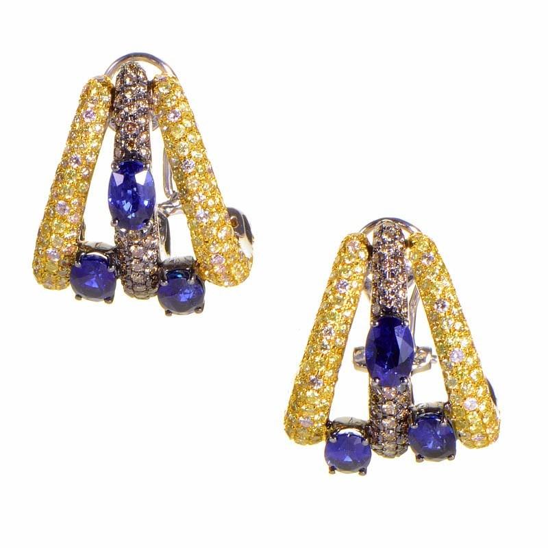 18K White Gold Multi Diamond & Sapphire Earrings