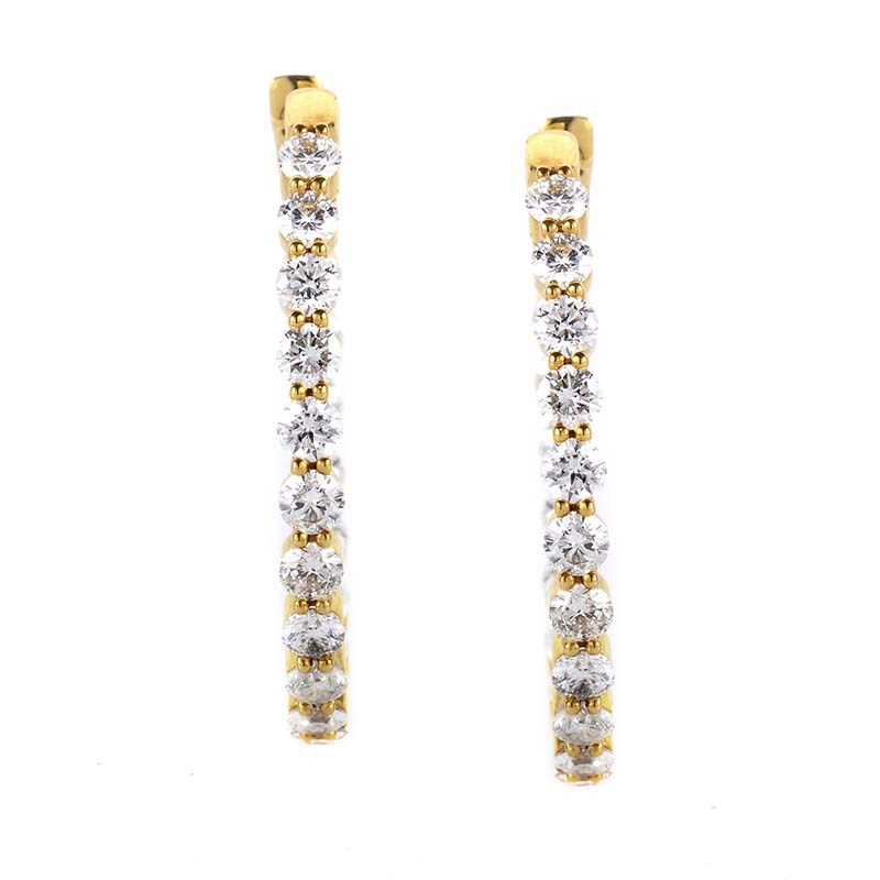 18K Yellow Gold Diamond Hoop Earrings 21013479