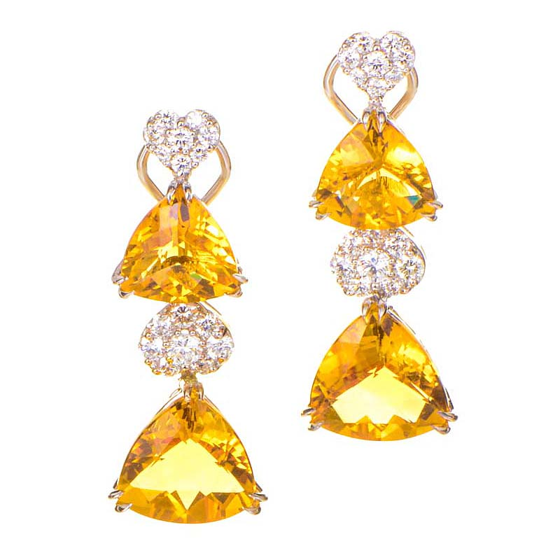 18K White Gold Citrine & Diamond Drop Earrings