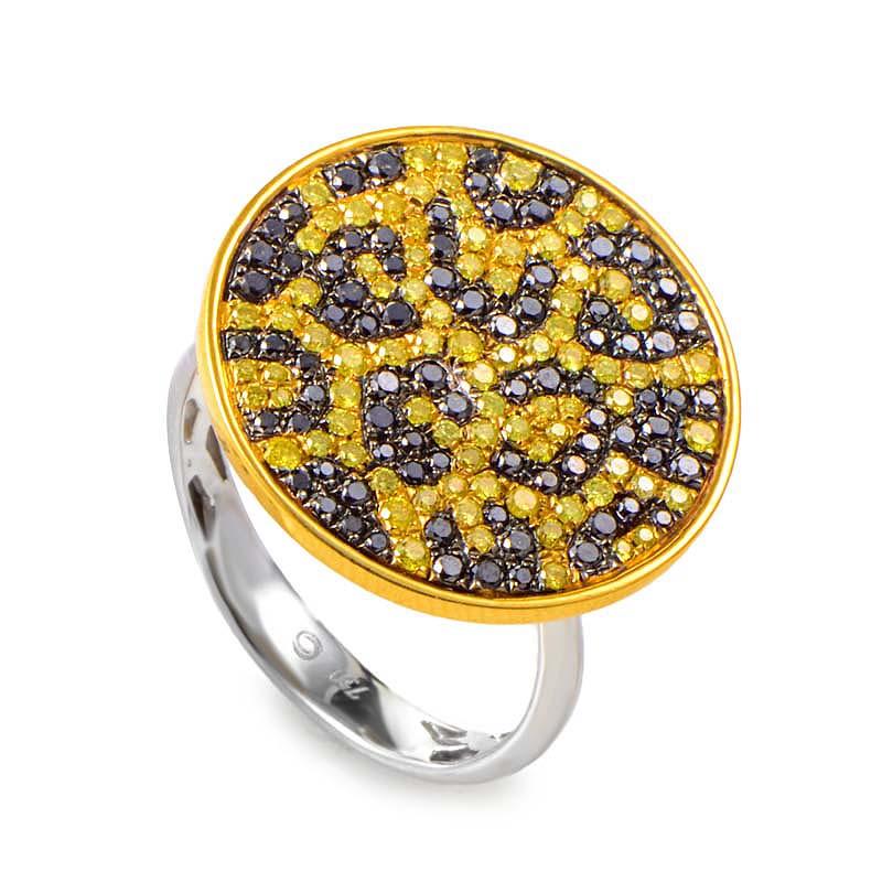 18K Yellow Gold Cheetah Print Black & Yellow Diamond Pave Cocktail Ring 21096458