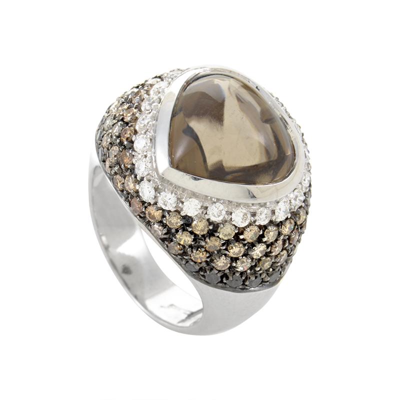 Italy Collection 18K White Gold Smoky Quartz & Diamond Ring