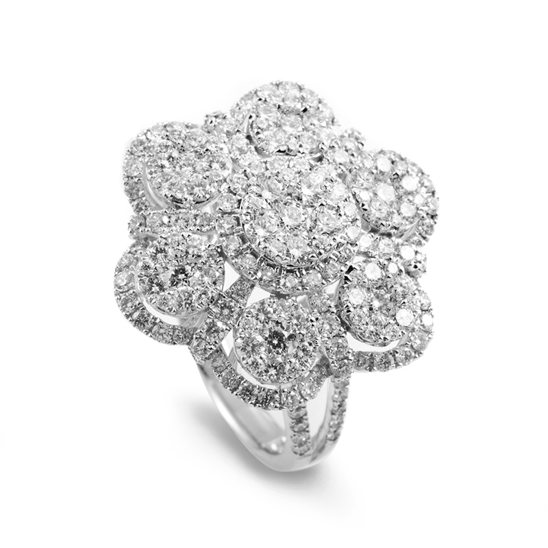 18K White Gold Diamond Flower Ring 21402359W