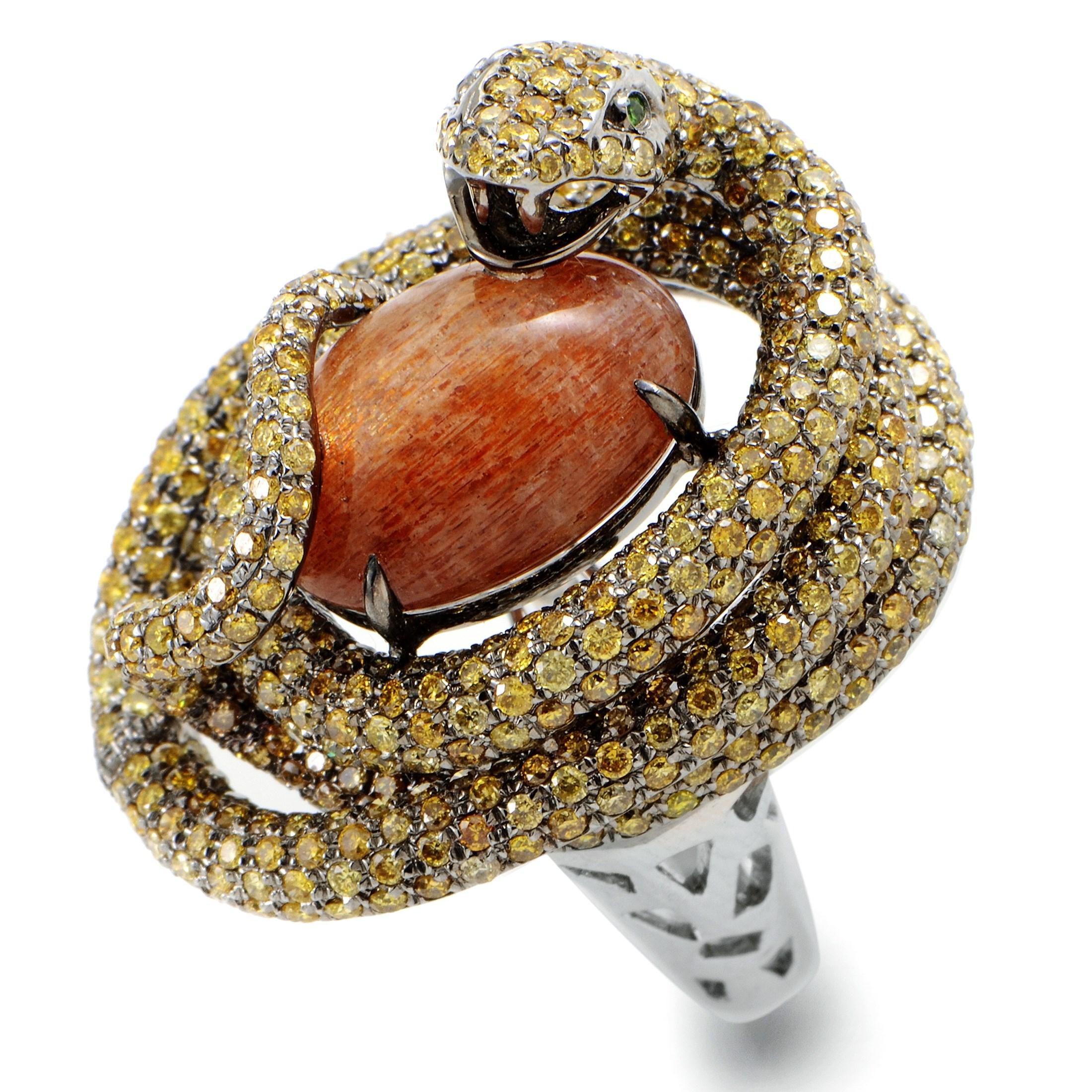 18K White Gold Sun Stone Ring 21457411W/BR