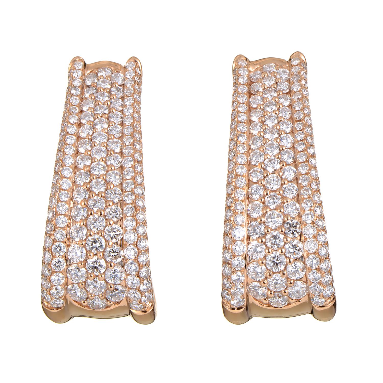 Women's 18K Rose Gold Diamond Pave Huggie Earrings 21554589