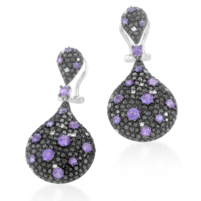 14k White Gold Multi-Diamond & Amethyst Dangle Earrings 21671961W