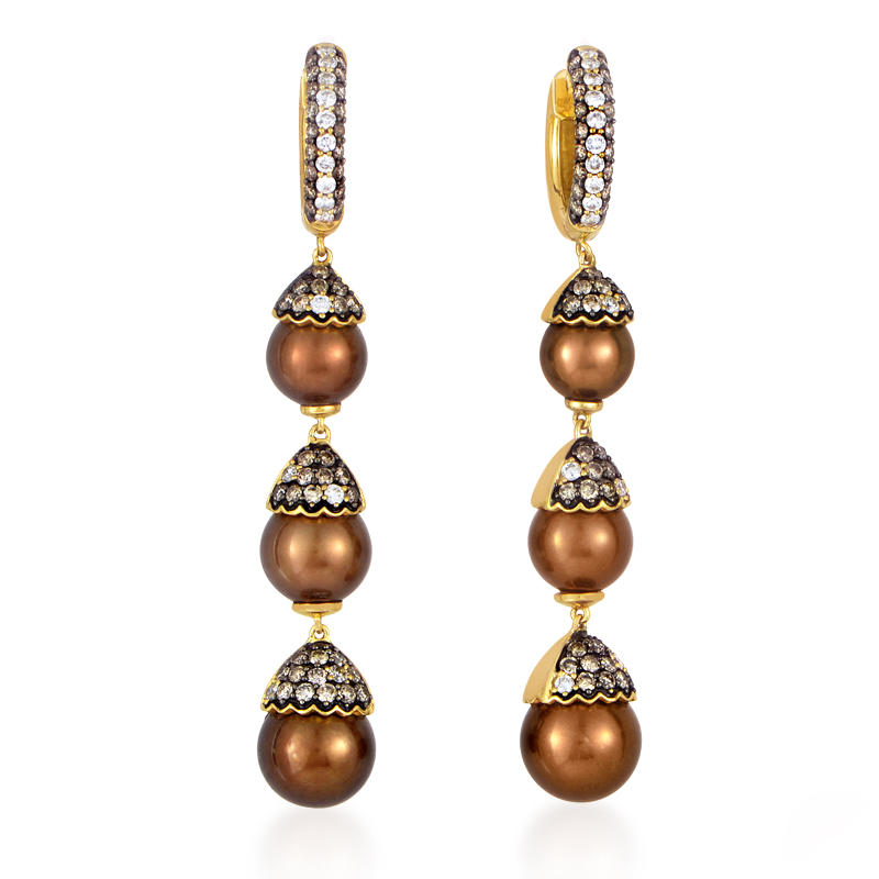 18K Yellow Gold Brown Pearl & Diamond Drop Earrings 21689328Y
