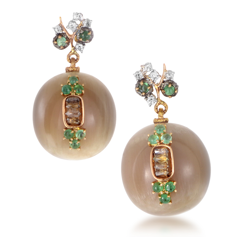 18K Multi-Gold Gemstone Dangle Earrings 21699475RY