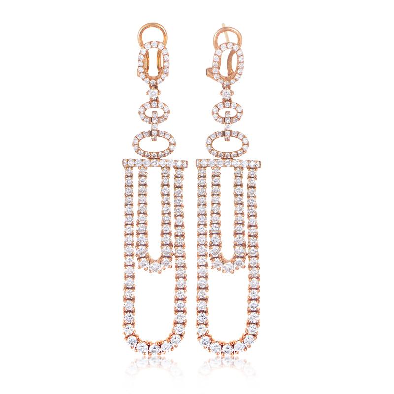 18K Rose Gold Diamond Pave Dangle Earrings 21750039