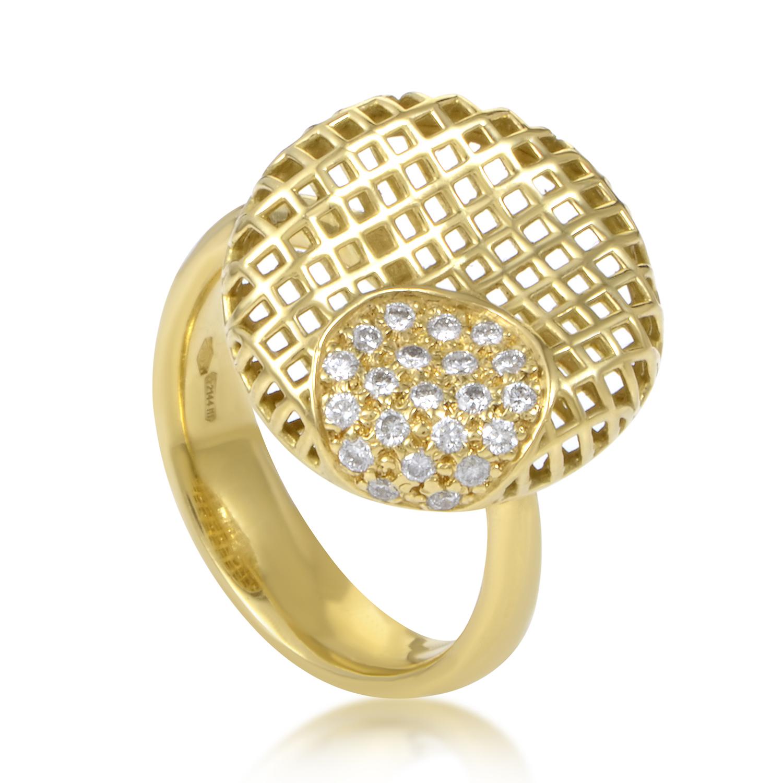 Women's 18K Yellow Gold Round Grid Diamond Ring 1051785