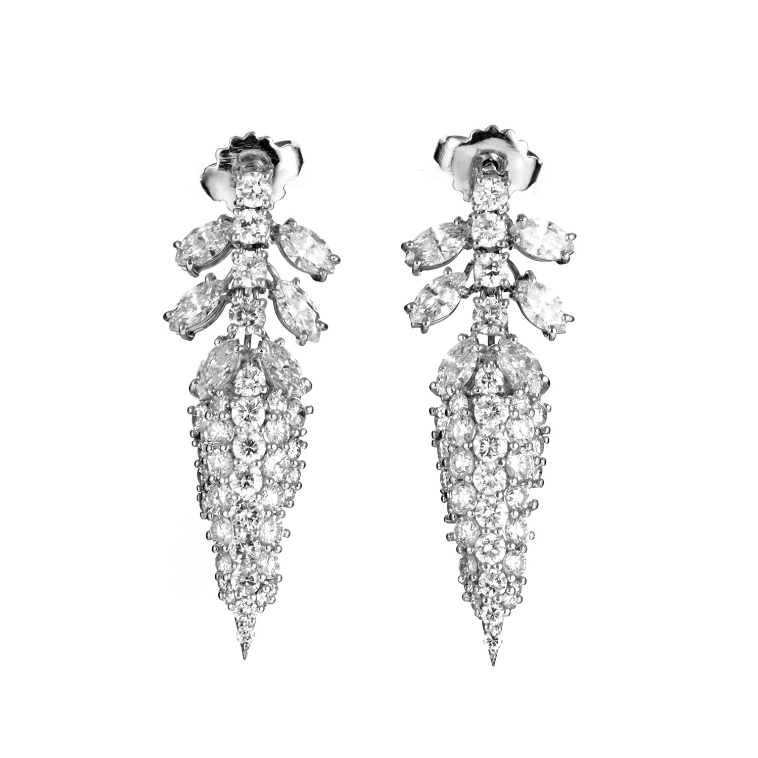Women's 18K White Gold Diamond Pave Spike Earrings 22029466