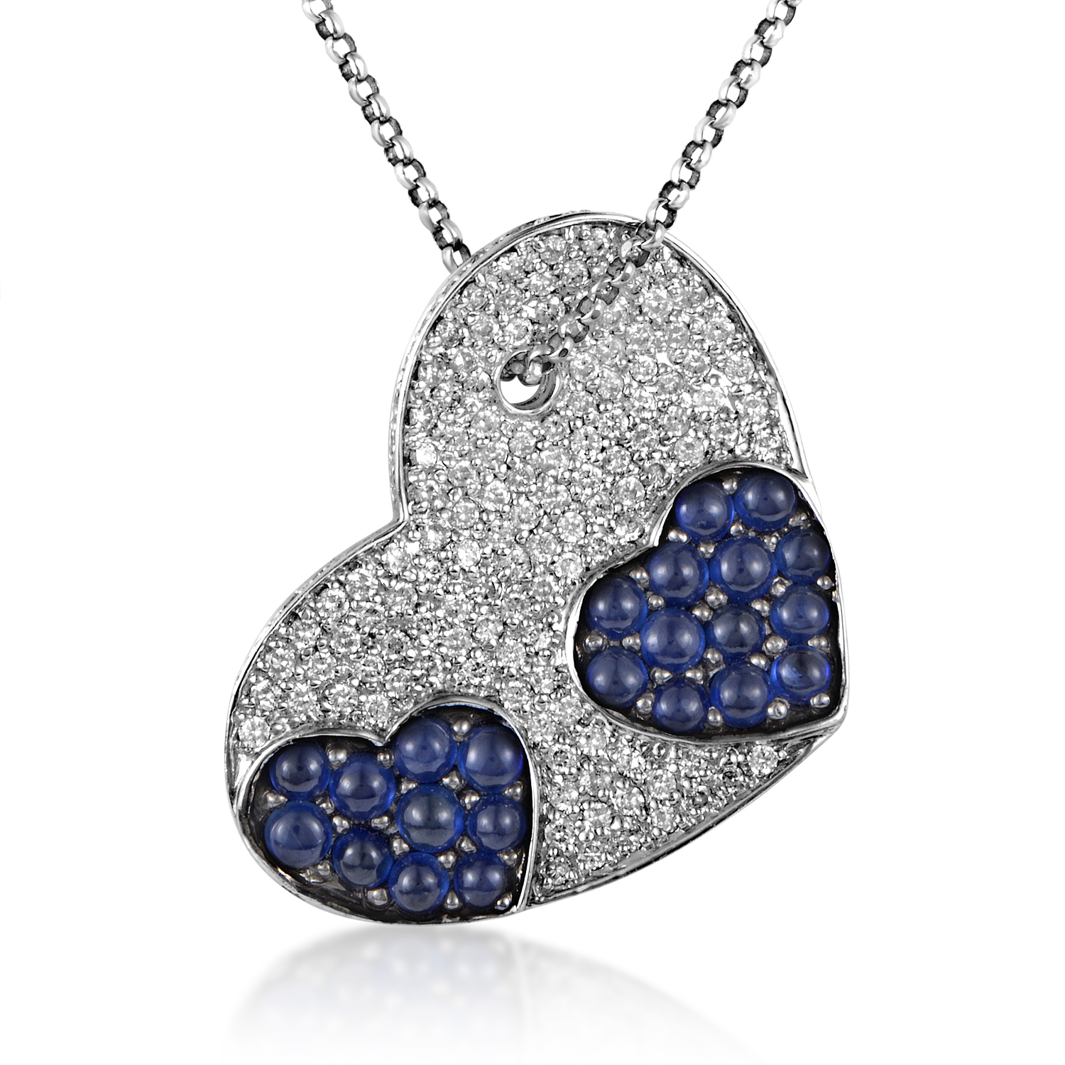 Women's 18K White Gold Diamond & Sapphire Heart Pendant Necklace 230-00004