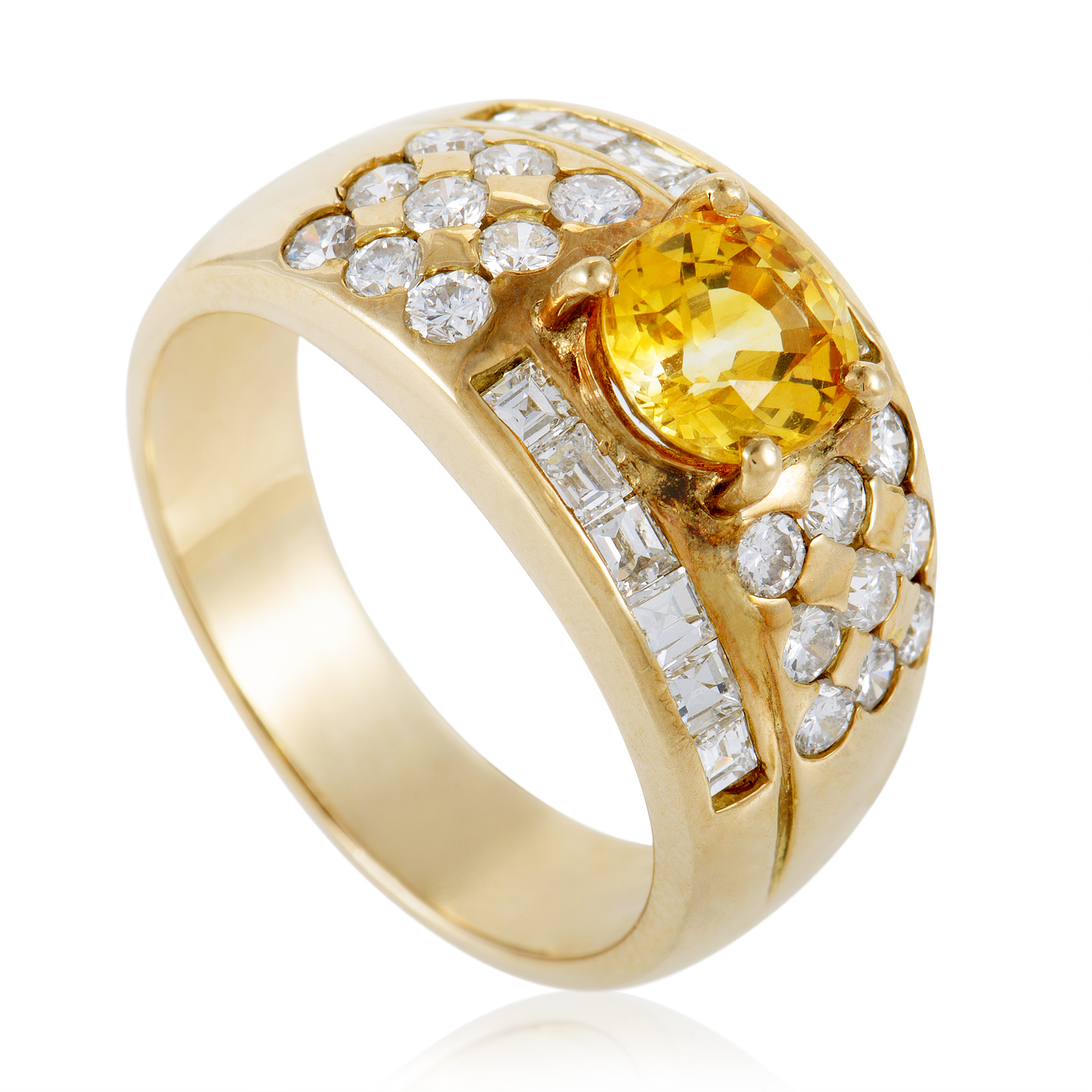 womens 18k yellow gold diamond pave and yellow sapphire. Black Bedroom Furniture Sets. Home Design Ideas