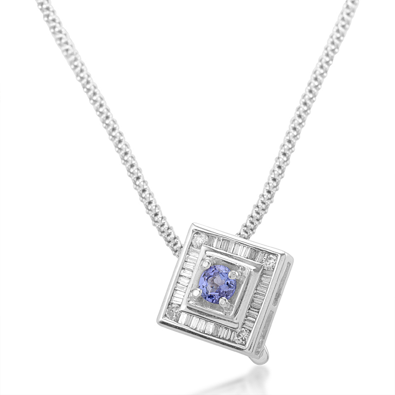 14K White Gold Tanzanite Diamond Pendant Necklace 44PNA