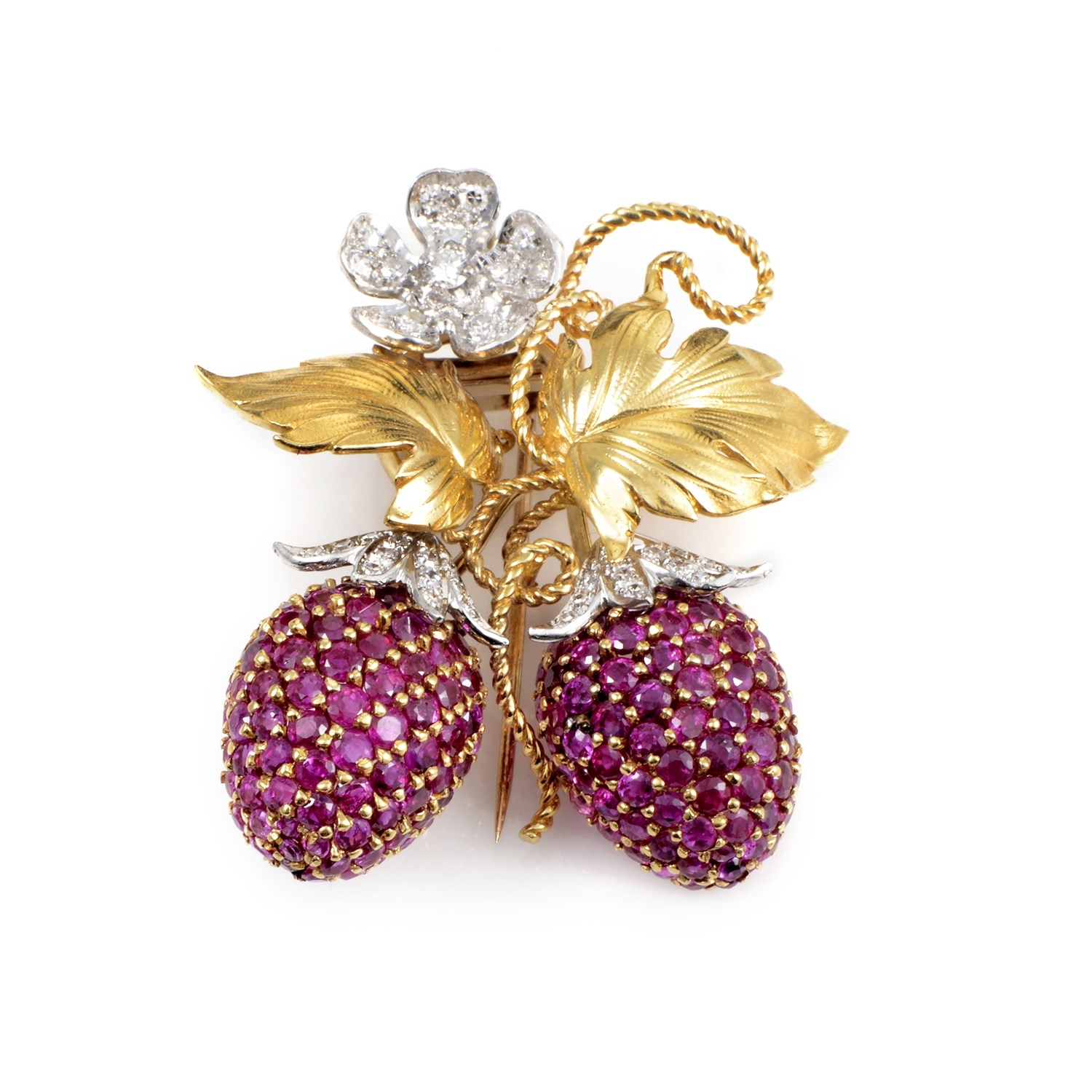 Women's Platinum & 18K Yellow Gold Diamond and Ruby Berry Brooch