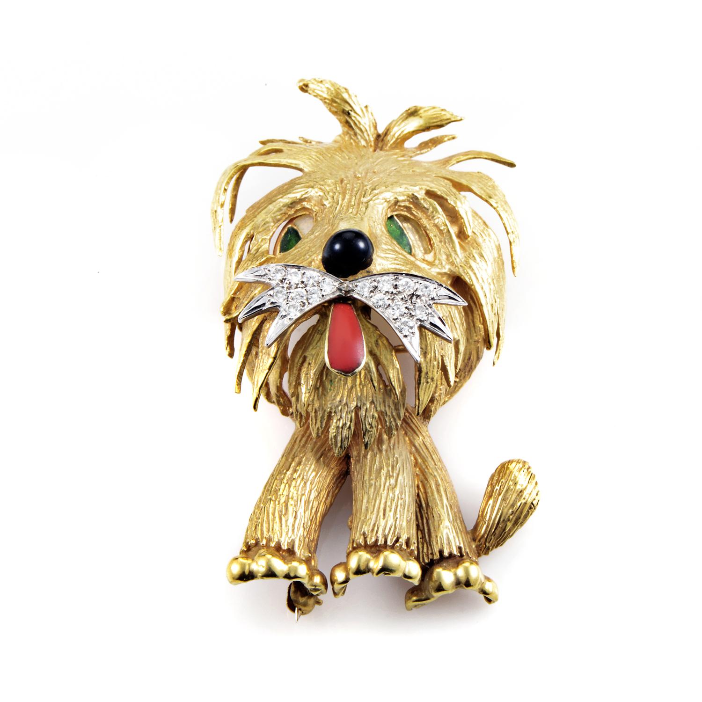 18K Multi-Tone Gold Diamond & Onyx Enamel Dog Brooch