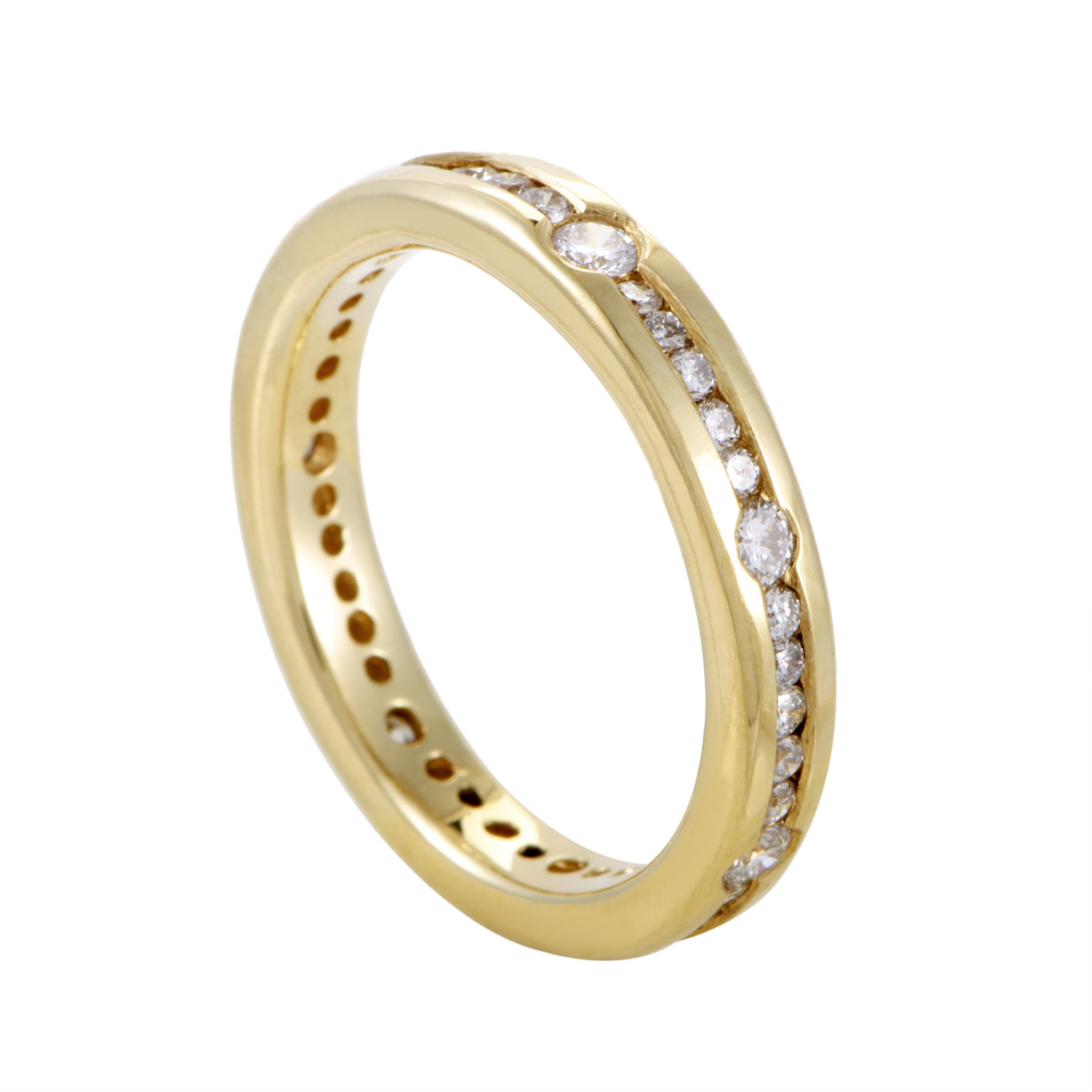 womens 14k yellow gold diamond eternity band ring ebay. Black Bedroom Furniture Sets. Home Design Ideas