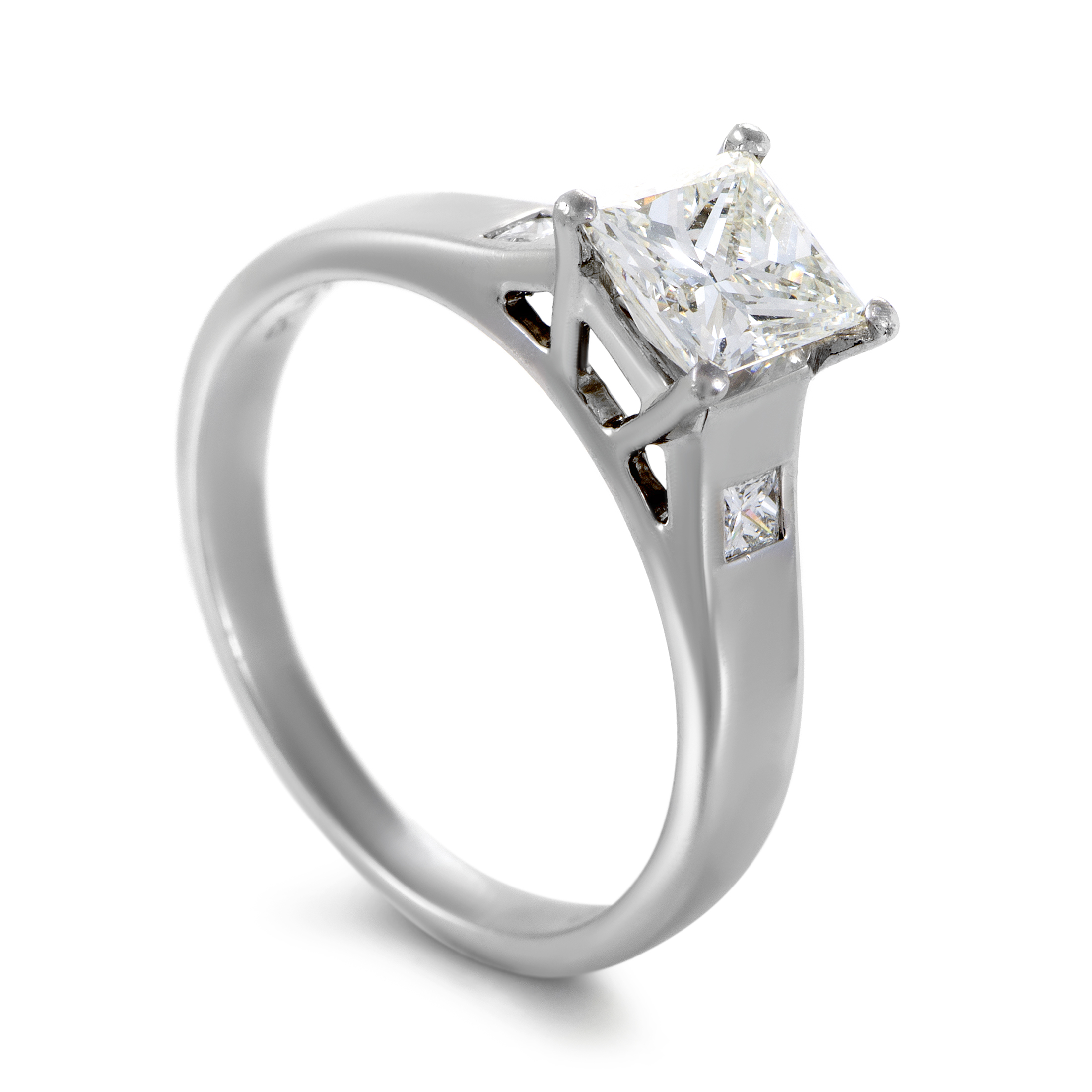 womens platinum princess cut diamond engagement ring ebay. Black Bedroom Furniture Sets. Home Design Ideas