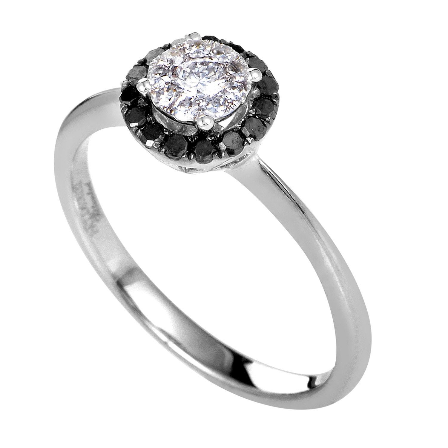 Women's 14K White Gold Black & White Diamond Engagement Ring