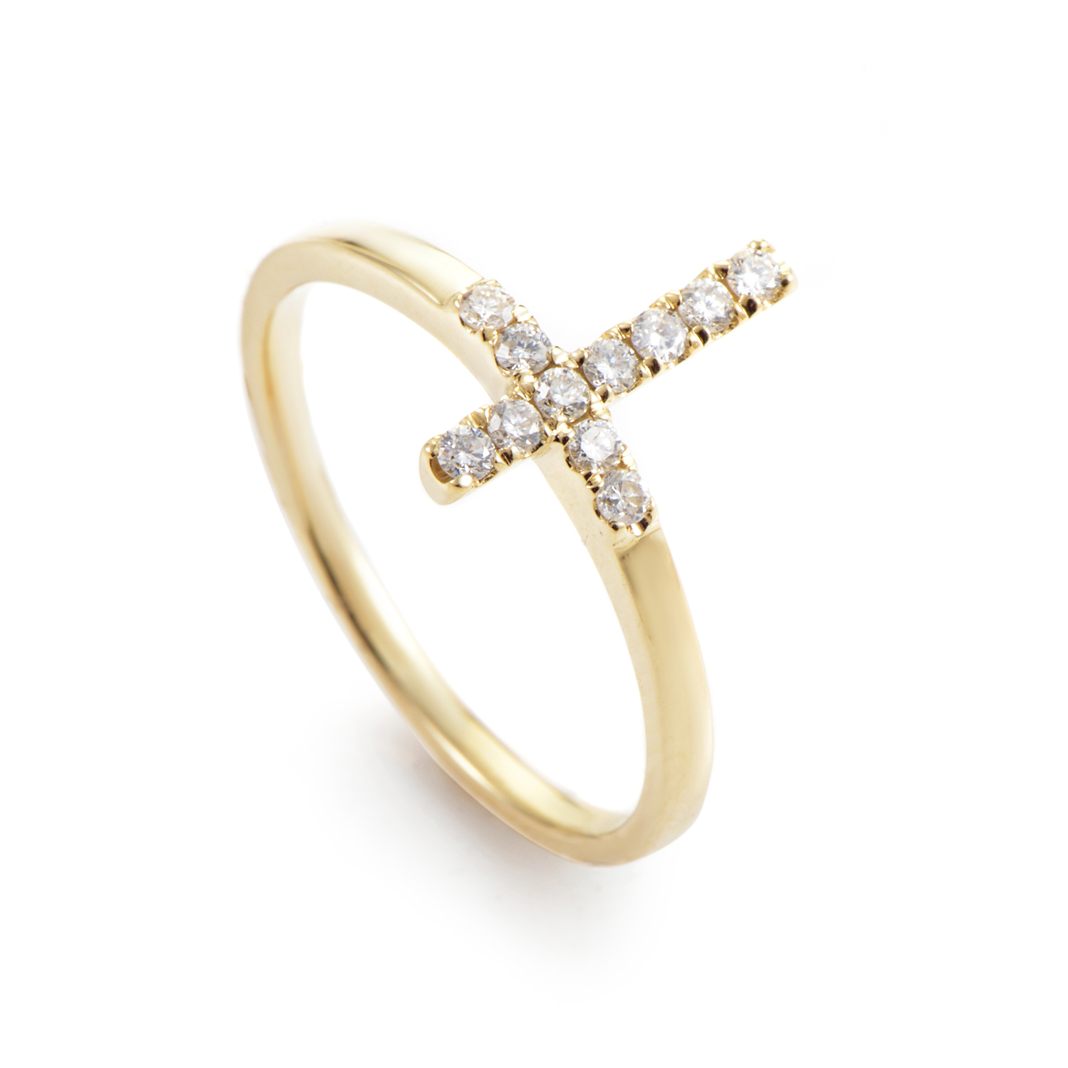 Women's 14K Yellow Gold Diamond Cross Ring ALR-11142-SPY