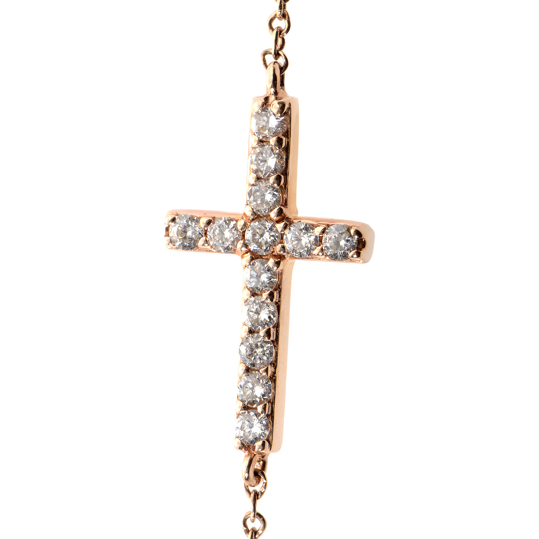 14K Rose Gold & Diamond Cross Necklace ANK-8915-SPR