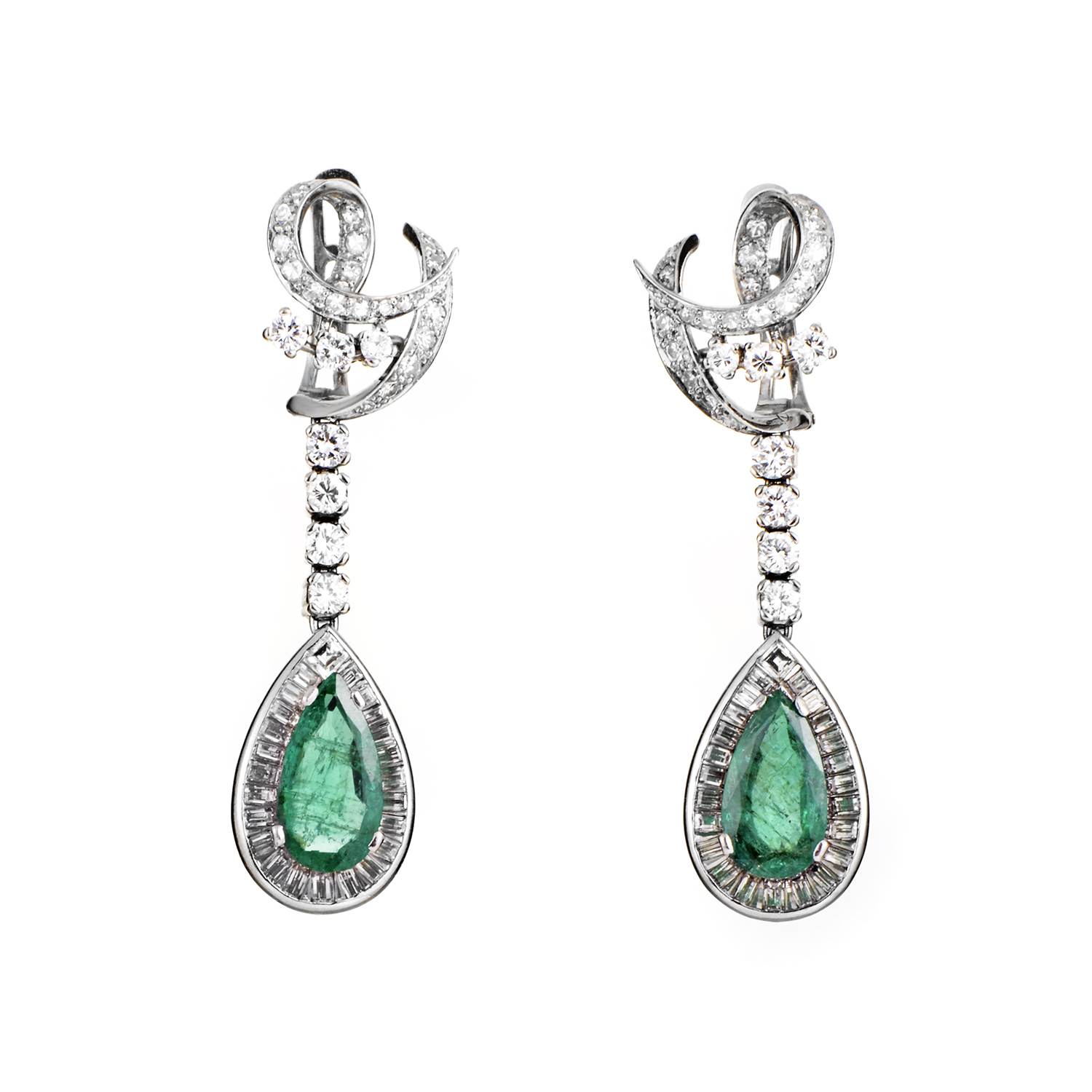 Women's Antique Platinum Diamond and Emerald Dangle Earrings