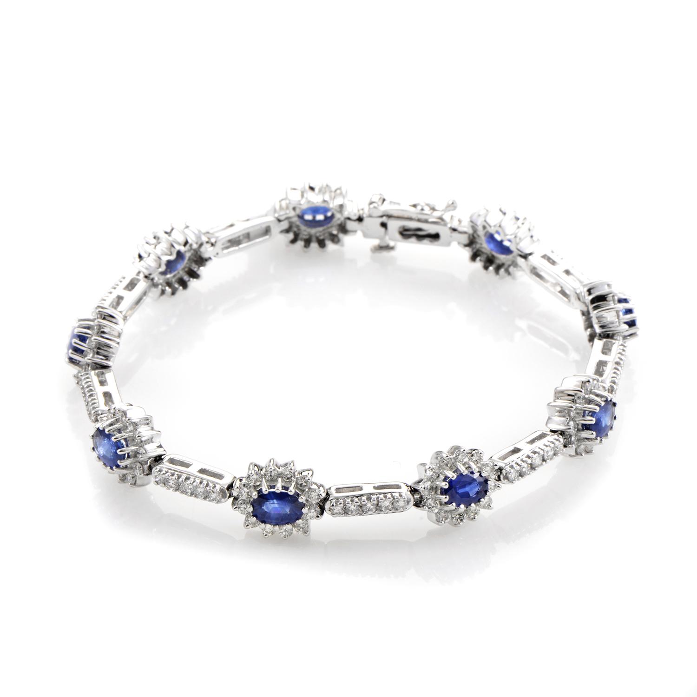 14K White Gold Sapphire & Diamond Bracelet BR4-10066WSA