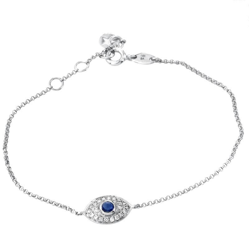 Women's 18K White Gold Diamond & Sapphire Evil Eye Bracelet BT97321RBZSA