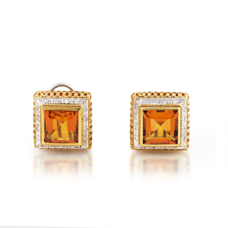 Italian Collection 18K Gold Diamond & Orange Citrine Square Huggie Earrings