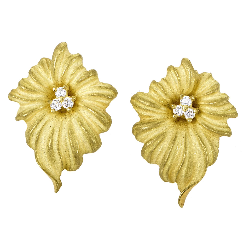 Italian Collection Women's 18K Yellow Gold & Diamond Flower Huggie Earrings