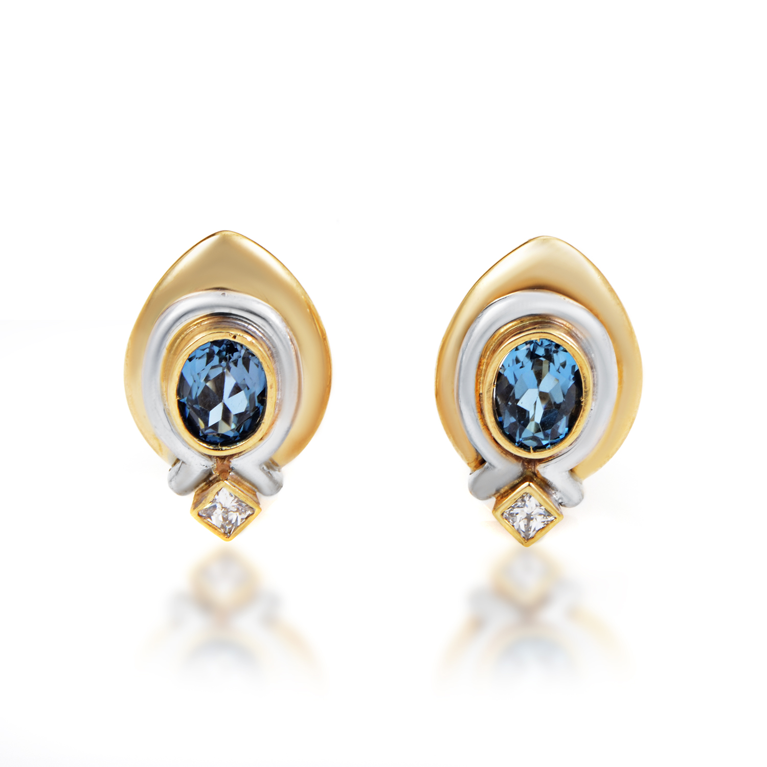Italian Collection Women's 18K Multi-Tone Gold Diamond & Topaz Earrings