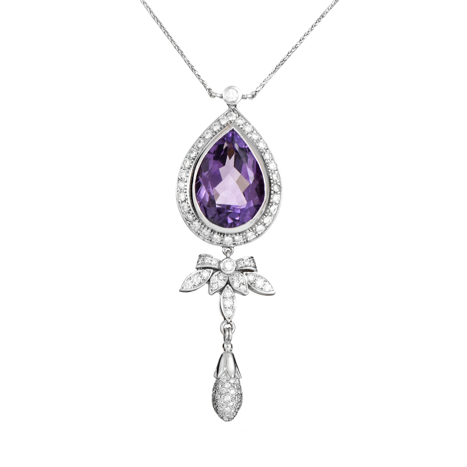 Italian Collection 18K White Gold Diamond & Amethyst Pendant Necklace