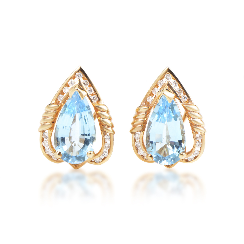Italian Collection Women's 18K Yellow Gold Diamond & Topaz Huggie Earrings