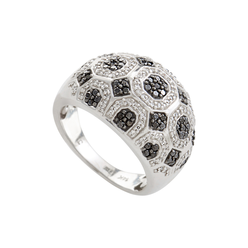 18K White Gold Black & White Diamond Pave Dome Ring CRR8173