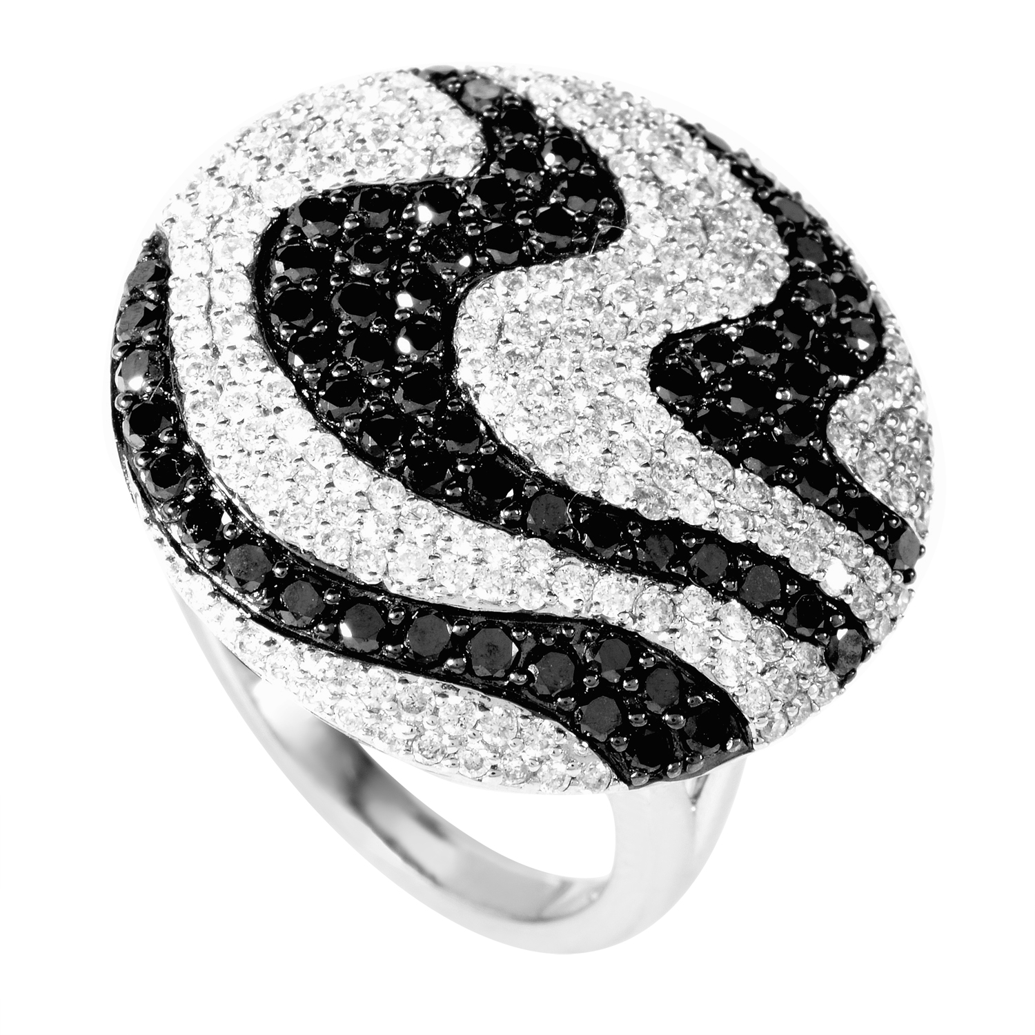 18K White Black & White Diamond Swirl Ring C-138